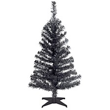 National Tree 3 ft. Black Tinsel Tree