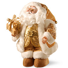 "National Tree 14"" Glimmering Gold Santa with Music"