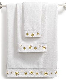CLOSEOUT! Snowflake Cotton Embroidered Towel Collection, Created for Macy's