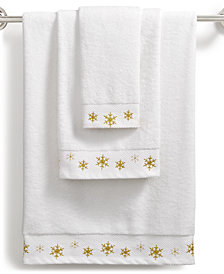 Martha Stewart Collection Snowflake Cotton Embroidered Towel Collection, Created for Macy's