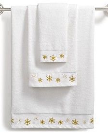CLOSEOUT! Martha Stewart Collection Snowflake Cotton Embroidered Towel Collection, Created for Macy's