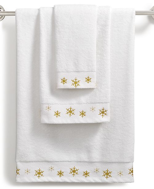 Martha Stewart Collection CLOSEOUT! Snowflake Cotton Embroidered Towel Collection, Created for Macy's