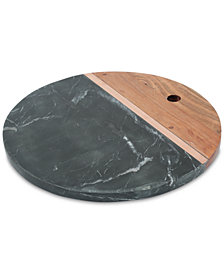 Thirstystone Black Marble and Acacia Wood Serving Board with Copper Strip