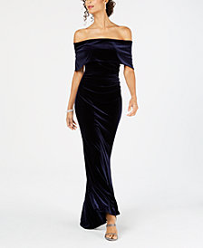 Vince Camuto Velvet Off-The-Shoulder Gown