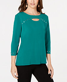 JM Collection Petite Studded Cutout Top, Created for Macy's