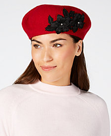 August Hats Wool Floral-Appliqué Beret