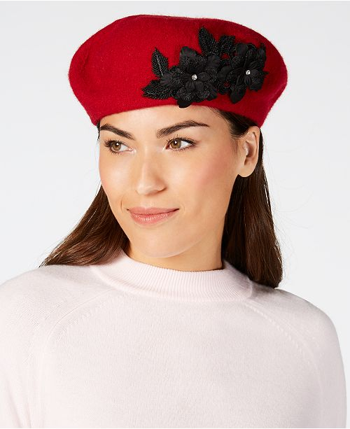 f7cf11aaf84 August Hats Wool Floral-Appliqué Beret   Reviews - Handbags ...