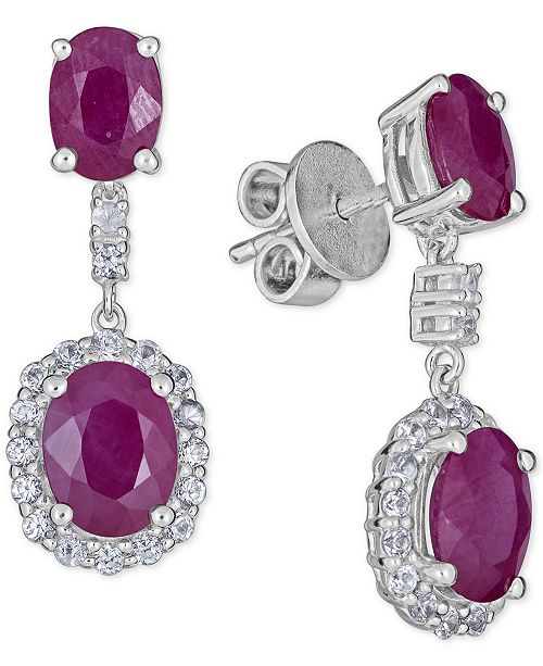 Macy's Certified Ruby (5 ct. t.w.) and White Sapphire  (3 ct. t.w.) Drop Earring in Sterling Silver (Also Available in Emerald & Tanzanite)