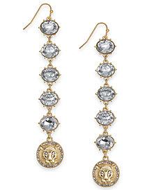 Thalia Sodi Gold-Tone Crystal Lion Linear Drop Earrings, Created for Macy's