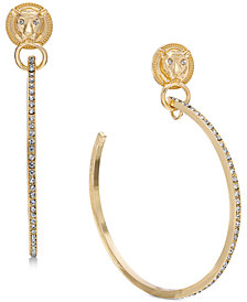"Thalia Sodi Extra Large Gold-Tone Lion Crystal Hoop Earrings 4"", Created for Macy's"