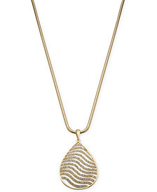"Thalia Sodi Gold-Tone Pavé Tiger Stripe Pendant Necklace, 18"" + 3"" extender; Created for Macy's"