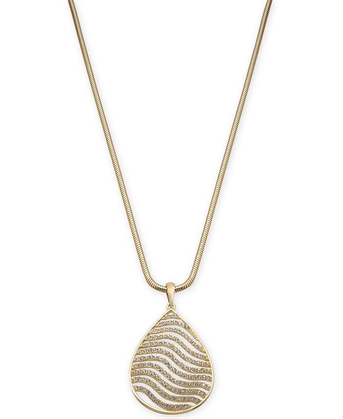 "Thalia Sodi - Gold-Tone Pavé Tiger Stripe Pendant Necklace, 18"" + 3"" extender"