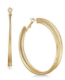 "Thalia Sodi Extra Large 3.2"" Gold-Tone Triple-Row Hoop Earrings, Created for Macy's"