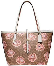 COACH Coated Canvas Signature Rose Print Market Tote