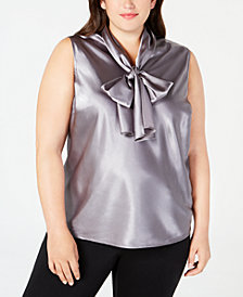 Nine West Plus Size Tie-Neck Sleeveless Camisole