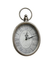Stratton Home Silver Oval Clock