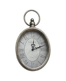 Stratton Home Silver Oval Clock