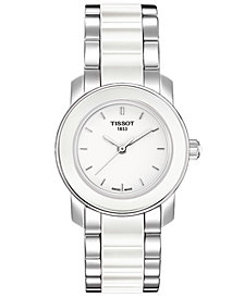Tissot Women's Swiss Cera Stainless Steel and White Ceramic Bracelet Watch 28mm T0642102201100