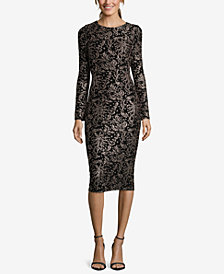 Betsy & Adam Glitter Damask Jersey Dress