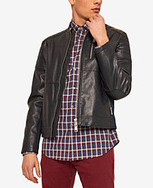 A|X Armani Exchange Men's Faux Leather Moto Jacket