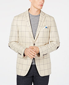 Tallia Men's Big & Tall Slim-Fit Windowpane Sport Coat