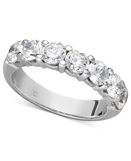 Macy's Certified Seven Diamond Station Band Ring in 14k White Gold (2 ct. t.w.)