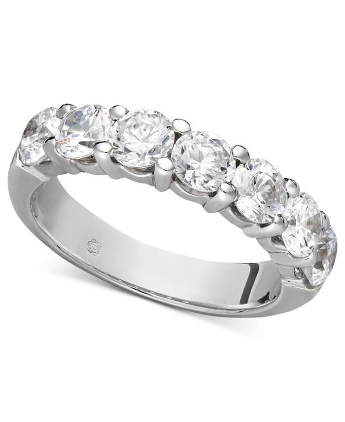 Macy's - Certified Seven Diamond Station Band Ring in 14k White Gold (2 ct. t.w.)