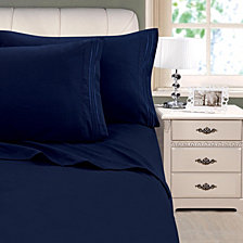 3-Line Stripe Embroidery 4-Pc. Queen Sheet Set