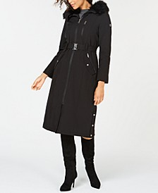 Hooded Faux-Fur-Trim Maxi Raincoat