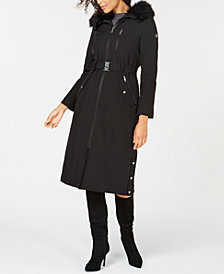 Calvin Klein Faux-Fur-Trim Hooded Belted Coat