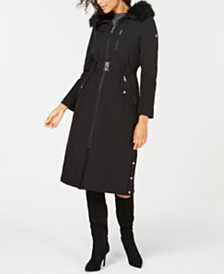 Calvin Klein Hooded Faux-Fur-Trim Maxi Raincoat