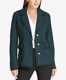 DKNY Three-Button Fringed Jacket, Created for Macy's