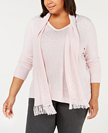 Karen Scott Plus Size Embellished Sweater & Scarf, Created for Macy's