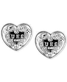 GUESS Crystal Logo Heart Stud Earrings