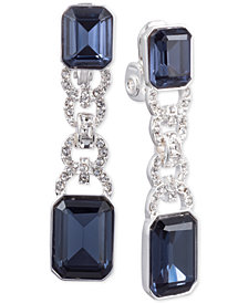 Lauren Ralph Lauren Silver-Tone Pavé Link & Stone Clip-On Drop Earrings