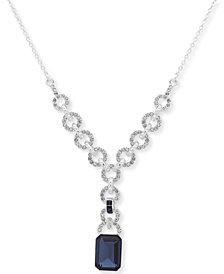 """Lauren Ralph Lauren Silver-Tone Pavé & Stone Lariat Necklace, 18"""" + 3"""" extender"""