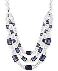 "Lauren Ralph Lauren Silver-Tone Multi-Stone Layered 17"" Statement Necklace"