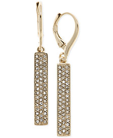 Lauren Ralph Lauren Gold-Tone Pavé Vertical Bar Drop Earrings