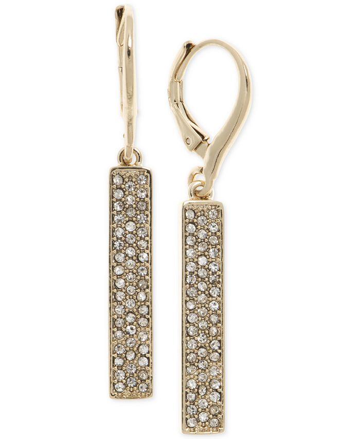 Lauren Ralph Lauren - Gold-Tone Pavé Vertical Bar Drop Earrings