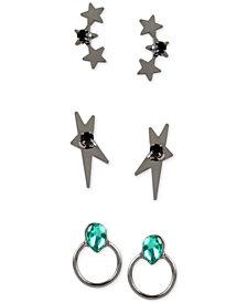 BCBG Hematite-Tone 3-Pc. Set Crystal Star Stud Earrings
