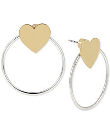 BCBG Two-Tone Heart & Hoop Front-and-Back Earrings