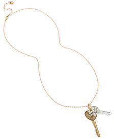 "BCBG Two-Tone Crystal Peace & Love Key Pendant Necklace, 30"" + 3"" extender"
