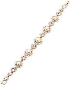 Marchesa Gold-Tone Imitation Pearl & Crystal Link Bracelet