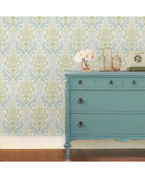 Brewster Home Fashions Blue And Green Nouveau Damask Peel And Stick Wallpaper Reviews Wallpaper Home Decor Macy S