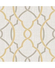 Sausalito Taupe-Yellow Peel and Stick Wallpaper