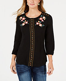Style & Co Cross-Stitch Embroidered Top, Created for Macy's