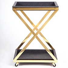 Black Square Bar Cart X Bottom