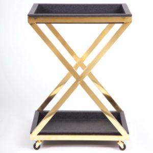 Image of Black Square Bar Cart X Bottom
