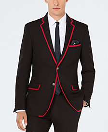 Tallia Men's Slim-Fit Stretch Red Micro Dot Knit Suit Jacket