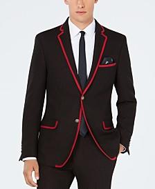Tallia Men's Big & Tall Slim-Fit Stretch Black/Red Dot Knit Suit Jacket